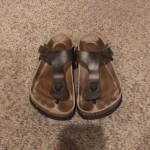 Birkenstock pewter Gizeh thong strappy sandal sz 6